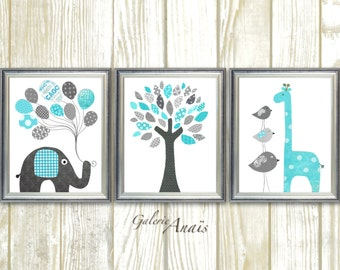 Elephant Nursery Art Giraffe and tree nursery Zoo Nursery Art for children - Aqua and gray - Playroom boy and girl - Set of three