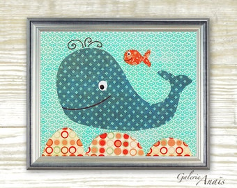 Nautical whale nursery - Bathroom Blue orange - childrens art print - kids room - baby boy nursery - kids wall art - Happy Together