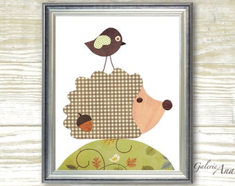 Hedgehog nursery art Bird nursery Decor Baby Nursery Wall Art green and brown woodland nursery art print kids wall art - Dans La Foret print