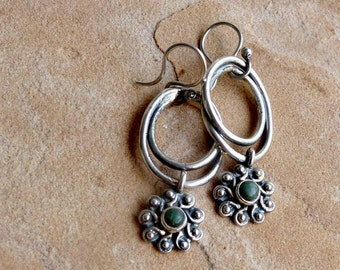 Stylized Sterling Silver Hoop Earrings with Sun or Flower Charms . Rustic Boho Tribal Southwest Style Jewelry