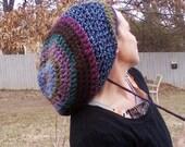 DREAD HAT Natural Handmade Crochet Hat Rasta Hat Cotton Blend/Wool Mix Hat Slouch Hat Dreadlock Tam Dread *Purple Blend*