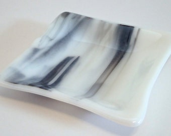 Fused Glass Dish in Streaky Black and White by BPRDesigns