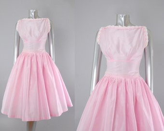 Adele Ross pink organdy dress | 1950s party dress | vintage 50s dress