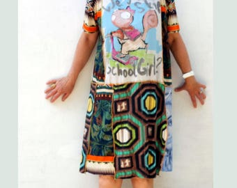 Handmade, Upcycled Clothing, Patchwork Dress, Funky , Krishna, cute squirrel, Boho, Gypsy, Wearable Art, ResplendentRags, SunDance, Festival