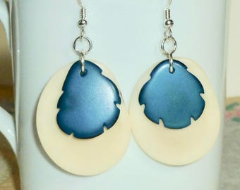 Tagua Earrings - Natural and Teal Tagua Nut Earrings - Tagua Jewelry - Tagua Nut Slice Hanging Sterling Silver Earrings