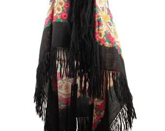 VINTAGE LARGE SCARF black Stole fringed shawl floral print