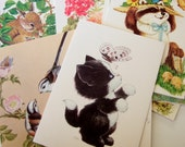 Pack of 10 Greeting Cards from the 1980s - Kitschy Cute Vintage Cards with Animals, Flowers, Birds