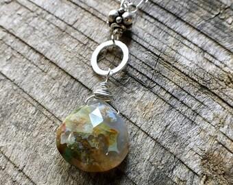Ocean Jasper Necklace, Jasper Sterling Silver Necklace, Ocean Jasper Pendant