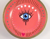 Coral Evil Eye w/Heart Jewelry Holder-Hand Painted Engagement Ring Dish-Jewelry Dish- evil eye Bowl- Handmade Clay Ring Display Organizer