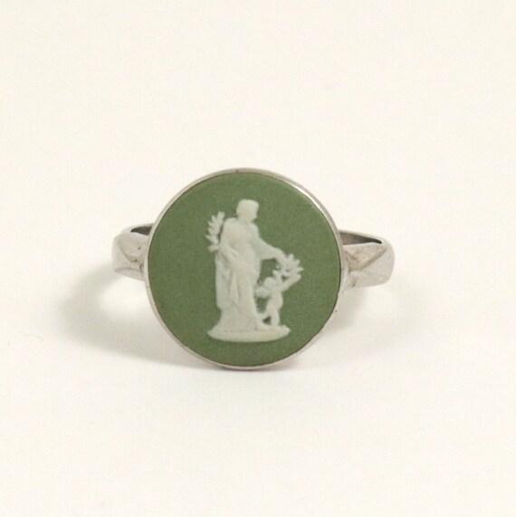 Vintage Wedgwood Cameo Ring, Green Jasper, Sterling Silver