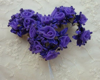 18 pc Rosette Rose Wired Flowers PURPLE Organza Satin Ribbon w Pips Bridal Bouquet Hair Bow Accessory