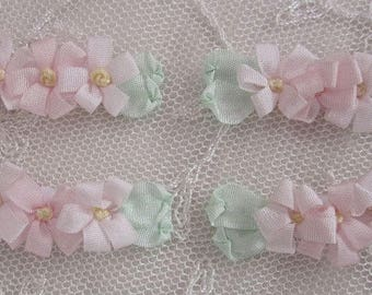 4pc Pink Pastel Vintage Like Silk Ribbon Embroidered Daisy Flower Applique Christening Gown Baby Antique Doll Clothing Hair Dog Bow