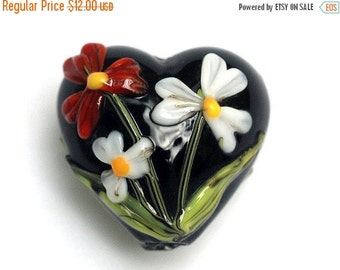 ON SALE 35% OFF Maria's Bouquet Heart Focal Bead - Handmade Glass Lampwork Bead 11833305