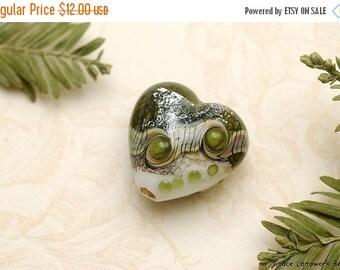 ON SALE 40% OFF Olive Stardust Heart Focal Bead - Handmade Glass Lampwork Bead 11831205