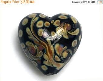 ON SALE 40% OFF Black w/Beige Free Style Heart Focal Bead - Handmade Glass Lampwork Bead 11805305