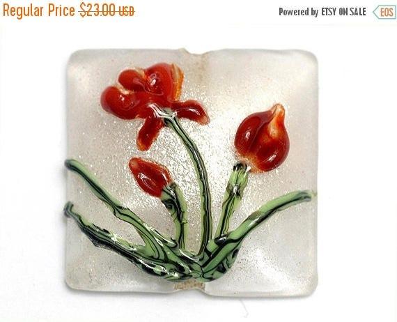 ON SALE 35% OFF Crimson Flower Pillow Focal Bead - Handmade Glass Lampwork Bead 11832104
