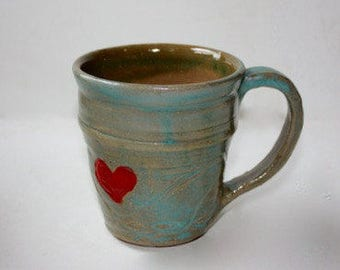 Ceramic Mug Stein in Stoneware Holds One and Three Quarters Cup Hand Thrown One of a Kind Carved Surface with  One Heart