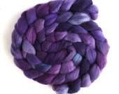 Organic Polwarth Roving - Handpainted Spinning or Felting Fiber, Viola