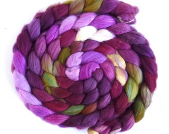 Organic Polwarth/Cultivated Silk Roving - Handpainted Spinning or Felting Fiber, Giant Celosia