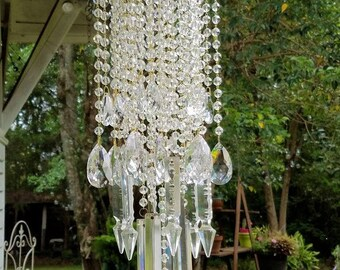 Sold Art Deco Antique Crystal Wind Chime, Clear Crystal Wind Chime, Crystal Sun Catcher, Garden Decoration, Crystal Glass Art, Garden Art