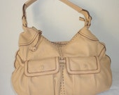 Cole Haan thick buttery soft pebbled leather slouchy ex large hobo ,shoulder bag purse in light tan color vintage  90s pristine condition