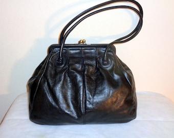 Fossil framed purse, doctors  bag, satchel, work bag, granny bag in thick slightly distressed  black genuine leather vintage