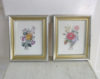 Vintage Pair Floral Prints, Pair Flower Prints, Small Floral Picture, Shabby Cottage Chic Flowers Art, Vintage Flower Picture