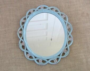 Vintage Nursery Mirror, Pink Mirror, Pink Blue Mirror,  Vintage Round Mirror, Flower Mirror, Shabby Cottage Chic Mirror, Child Mirror