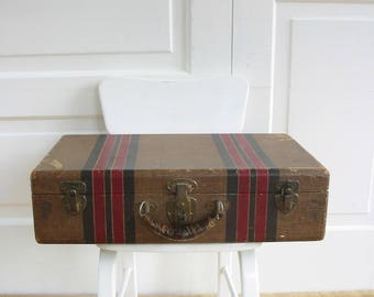 Vintage Brown Suitcase, Striped Suitcase, Brown Case, Vintage Luggage, Vintage Suitcase, Antique Suitcase, Red Striped Suitcase
