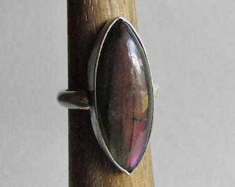 Purple Labradorite Ring - Size 7.5 - Marquise Cut Ring