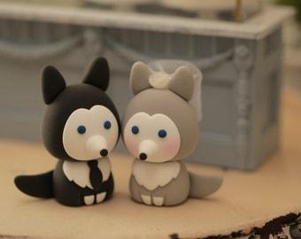 wolf husky puppy wedding cake topper