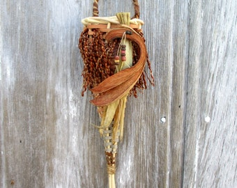 Natural Wall Basket with Embellishments from Nature  by Marcia Whitt of The Bent Tree Gallery
