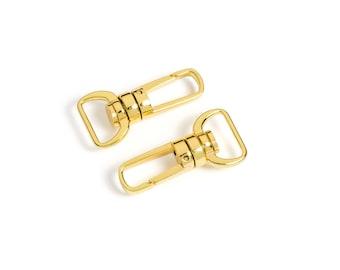 """10pcs - 5/8"""" Metal Push Gate Swivel Snap """"Bullet"""" Hook - Gold - (METAL HOOK MHK-221) - Free Shipping"""