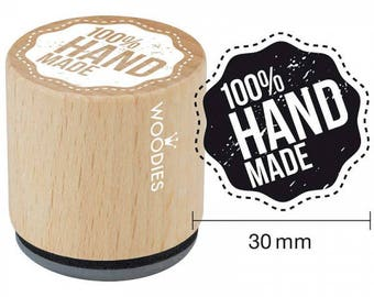 """Woodies """"100% HAND MADE"""" Rubber Stamp 1.35"""""""