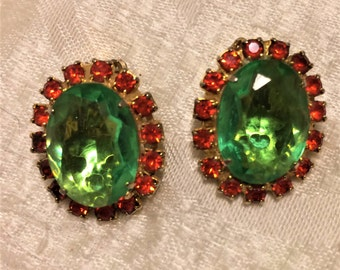 Vintage Green and Orange Clip On Earrings. They Are About an Inch Long. Pretty Bright, Sparkly Wedding or Prom Jewelry. Bridesmaid Gift (D9)