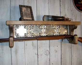 Gun Rack Wall Shelf Western Furniture Shelves