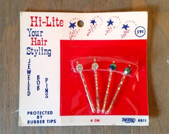 Vintage Rhinestone Hair Pins or Bob Pins with Rubber Tips in Original Package 1960's