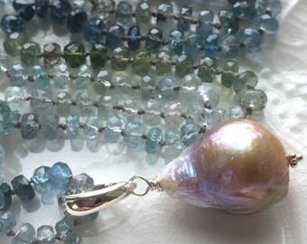 Hand Knotted Aquamarine Necklace- Made to Order