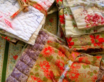 French Antique And Vintage Quilt Bundles, Patchwork, Quilting, Cutting, Sewing, Applique, French Textiles, French Floral, Faded Fabric Quilt