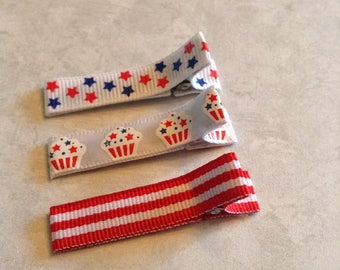 Simple Patriotic Hair Clippie, Toddlers Hair Clips, Girls Hair Bows, Clippies, Simple Clippies, Red White & Blue, July Fourth, Cup Cakes