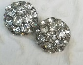 Vintage Button - 2 medium domed matching flower design rhinestone embellished, antique silver finish metal (feb 45 17)