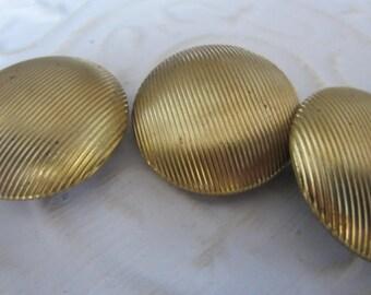 Vintage  Buttons -3 matching large size bronze/ gold  metal , ribbed design (jan 103-17)