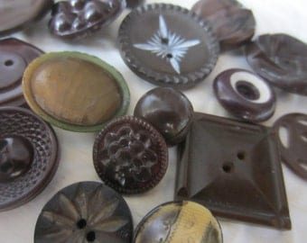 Vintage Buttons -16 assorted noveltybrown buttons, celluloid (jan 114-17)
