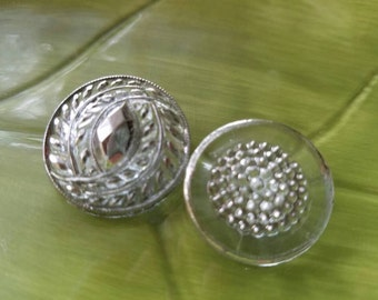 Vintage Buttons - 2 assorted, novelty designs cut glass silver hand painted Depression glass (lot feb 354 17)