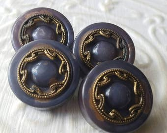 Vintage Buttons -4 blue grey celluloid with bronze filigree metal novelty matching old and sweet-  ( mar 340 17)