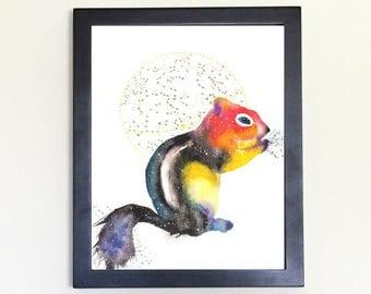 Chipmunk Spirit Animal Art Print Watercolor Totem Guide