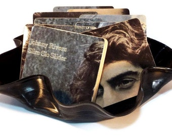 Johnny Rivers wood coasters with warped record bowl from recycled Slim Slo Slider music album