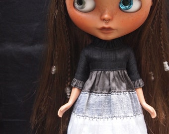 Ruffle Sleeve Silk Dress for Blythe Dolls