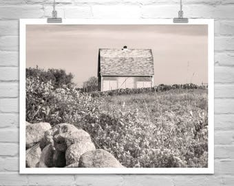 Block Island, Rhode Island, Black and White, Photography Print, Old Barn Photo, Farm Print, Countryside, Vintage Barns, Square Art