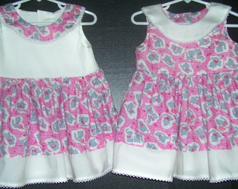 Twin Sister Matching Dresses Kitty love..size 18/24 months free shipping
